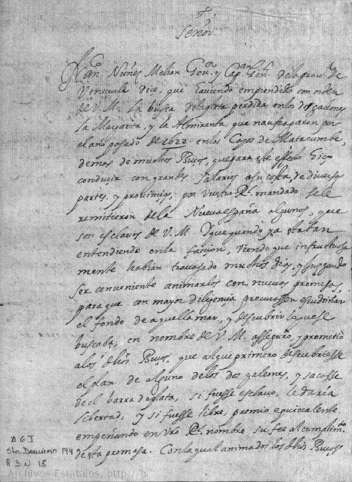 Letter to King Philip IV (First Page)